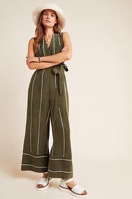 Anthropologie Pia Striped Jumpsuit