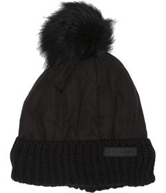 Steve Madden Nylon Puffer Hat with Faux Fur Pom