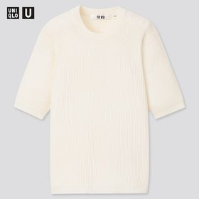 Women U Ribbed Crew Neck Sweater, Off White, Mediu