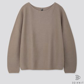 Women 3d Cotton Volume-Sleeve Sweater, Gray, Mediu