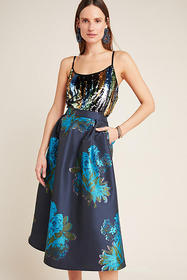 Anthropologie Ronette Jacquard Midi Skirt