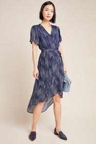 Anthropologie Cloth & Stone Herringbone Wrap Midi