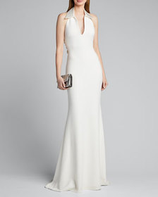 Badgley Mischka Collection Shirt Halter Gown with