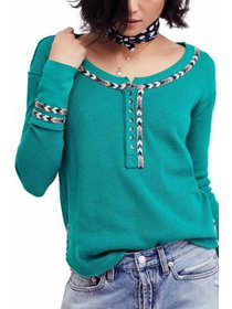 Womens Medium Embroidered Trim Thermal Top M