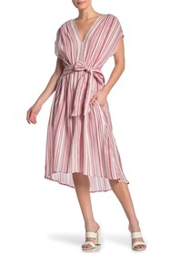 Max Studio Striped V-Neck Tie Waist A-Line Dress