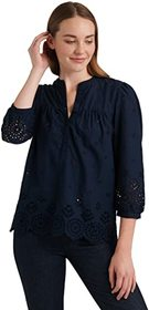 Lucky Brand 3/4 Sleeve Button Neck Rebecca Eyelet