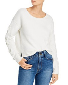 AQUA - Lace-Up Sleeve Chenille Sweater - 100% Excl