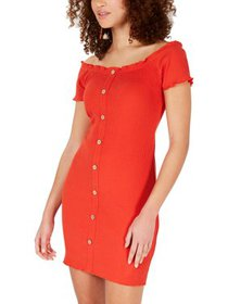Rosie Harlow Womens Juniors Off-The-Shoulder Ribbe