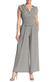 Max Studio V-Neck Smocked Waist Jumpsuit