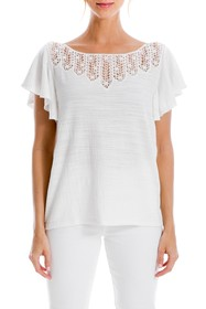 Max Studio Crochet Trim Flutter Sleeve Top (Plus S