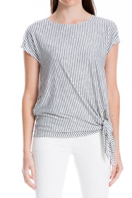 Max Studio Tie Front Short Sleeve Top (Plus Size)
