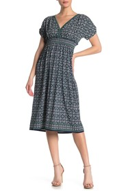 Max Studio V-Neck Smocked Waist Midi Dress