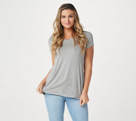 """As Is"" H by Halston Short-Sleeve V-Neck Hi-Low He"