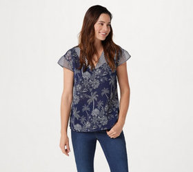 """As Is"" Belle by Kim Gravel Palm Tree V-Neck Blous"