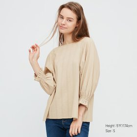 Women Cotton Dobby 3/4 Sleeve Blouse, Beige, Mediu