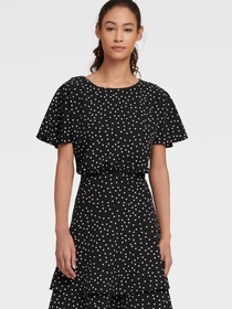 Donna Karan PEBBLE DOT FIT & FLARE DRESS