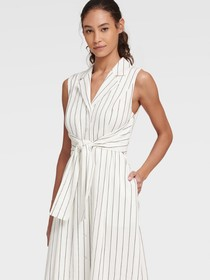 Donna Karan STRIPED SHIRTDRESS WITH REVERSIBLE TIE