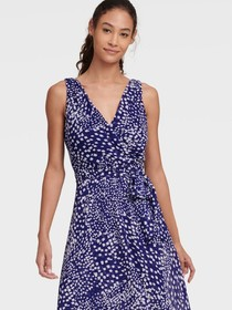 Donna Karan DIAMOND PRINT FAUX WRAP DRESS