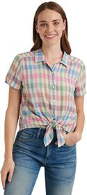 Lucky Brand Short Sleeve Button-Up One-Pocket Tie