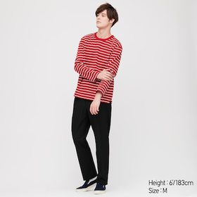 Men Striped Long-Sleeve T-Shirt, Red, Medium