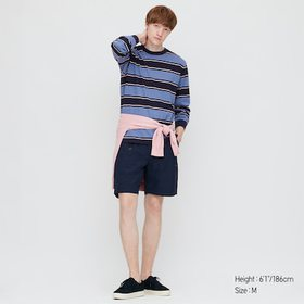 Men Striped Long-Sleeve T-Shirt, Blue, Medium