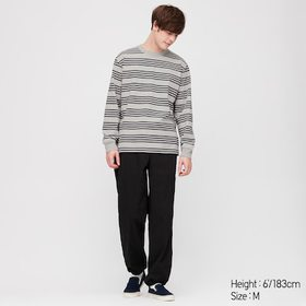 Men Striped Long-Sleeve T-Shirt, Gray, Medium