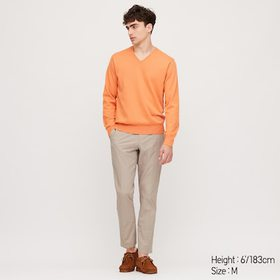Men Supima© Cotton V-Neck Long-Sleeve Sweater, Ora