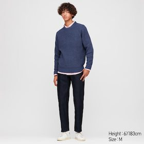 Men Middle Gauge Crew Neck Long-Sleeve Sweater, Bl