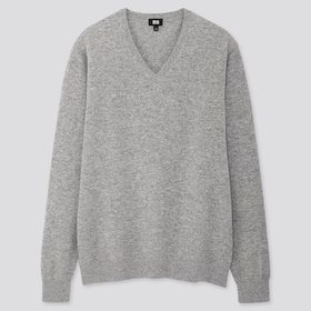Men Cashmere V-Neck Long-Sleeve Sweater, Gray, Med