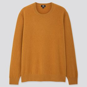 Men Cashmere Crew Neck Long-Sleeve Sweater, Yellow