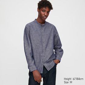 Men Chambray Stand Collar Long-Sleeve Shirt, Blue,