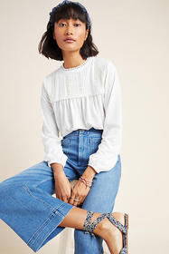 Anthropologie Mara Embroidered Lace Top