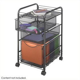 Steel Onyx Mesh File Cart with 1 File Drawer and 2