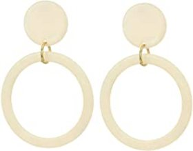 """Kenneth Jay Lane 2.5"""" Ivory Circle Top w/ Gold Rin"""