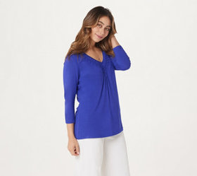 """As Is"" Laurie Felt Bamboo Blend Lattice V-Neck Lo"