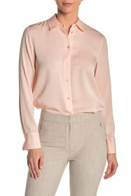 Vince Solid Slim Fit Silk Blend Blouse