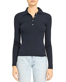 Theory - Stretch Ribbed Polo Sweater