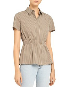 Theory - Short-Sleeve Cinched Stretch Cotton Strip