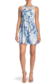 Love Squared Floral Illusion Fit & Flare Dress