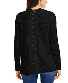 INC Lace-Back Completer Sweater, Created for Macy'
