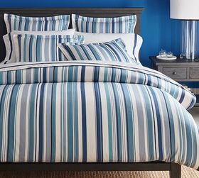 Pottery Barn Chandler Striped Organic Cotton Duvet