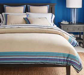 Pottery Barn Harbor Striped Border Cotton Linen Du