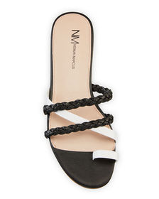 Neiman Marcus Braided Strappy Leather Sandals