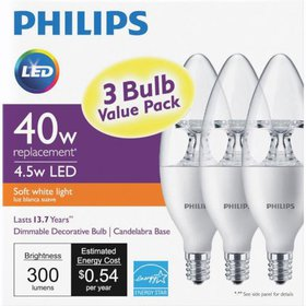 Philips 3pk 40w B11 Led Dim Bulb 554121