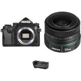 Pentax KP DSLR Camera with 35mm f/2.4 Lens and Bat
