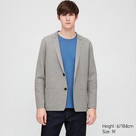 Men Stretch Milano Ribbed Jacket, Gray, Medium