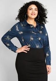 ModCloth A New Classic Button-Up Top Navy Zebras