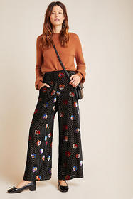 Anthropologie Pasquette Velvet Wide-Leg Pants