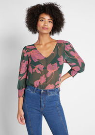 ModCloth ModCloth Tell Me More Sheer Blouse Green