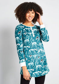Plush Dreams Henley Nightgown Teal Dinosaurs